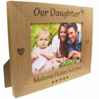 Parent Gift, 'Our Daughter' Engraved Solid Oak Photo Frame, New Baby Gift