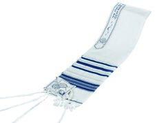 TRADITIONAL WOOL TALLIT WITH BLUE & SILVER STRIPES Jewish Prayer Shawl SIZE 18