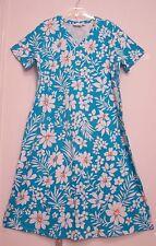 New! Denim & Co. 100% COTTON Knit V-Neck MARINE BLUE & Wht Floral Print Dress 1X