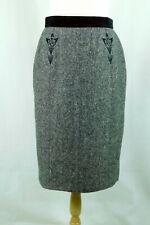Laurel Women's Size 38 Black Pencil Skirt 100% Wool, Velvet Waist, Lined
