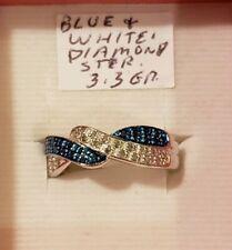 Blue & White Diamond Braid Crisscross Crossover Ring Size 8 Sterling Silver