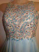Custom Made Dress Gown Cinderella Rhinestone Crystal Sequin Sky Blue Prom Formal