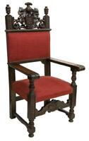 Antique Armchair, Throne, Spanish Renaissance Revival, Oak, Red, 19th C.,1800s!!