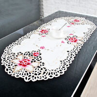 Oval Embroidered Lace Tablecloth Floral Table Runner Wedding Party Home Decor