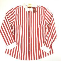 R.M. Williams Womens Semi Fitted Long Sleeve Red & White Striped Shirt Size 16