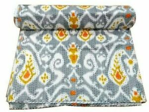 Kantha Quilt Floral Cotton Indian Bedspread Handmade Gray Blanket Twin