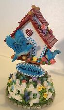 "Bird Tree House Garden ""Welcome""~Music Box 8""High~Flowers Blue Birds~Heavy"