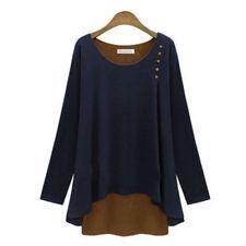 Womens Pullover Sweater Jumper Sweatshirt Ladies Ruffle Blouse T-shirt Plus Size UK 6-8 Blue