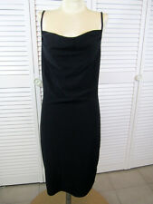 Topshop Black Slinky Stretch Spaghetti Strap Fitted Draped Neck Mini Dress Small