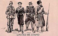 POSTCARD   MILITARY  PATRIOTIC   United  we  Stand