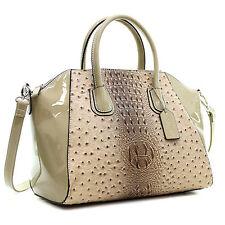 New Dasein Women Ostrich Leather Handbag Work Satchel Tote Shoulder Bag Purse