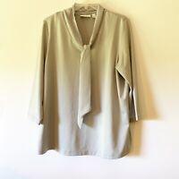 Susan Graver Women's Top Blouse 3/4 Sleeves Tie Neckline Gray Large