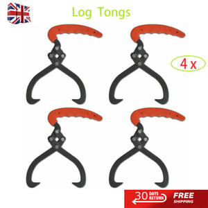 4 pcs Log Tongs w/ PVC Handle Forestry Wood Grabber Skidding Tong Lifting Timber