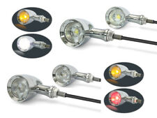 Motorbike Custom CHROME LED Indicators & DRL + Integrated Stop Taillight 2 PAIRS