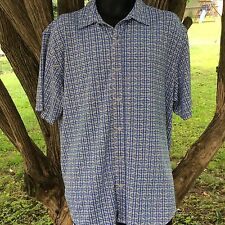 Calvin Klein Mens Shirt Button Up Front Short Sleeve Size Large Geometric Shapes