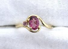 14Kt REAL Yellow Gold 7x5 Oval Red Tourmaline Gemstone Gem Ring Size 6.5 EBS99R1