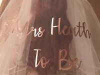Personalised Veil ROSE GOLD Hen Do Bride Wedding Party Custom Made To Order