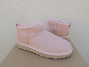 UGG PINK CLASSIC ULTRA MINI WATER-RESISTANT SHEEPSKIN BOOTS, US 8/ EUR 39 ~NEW