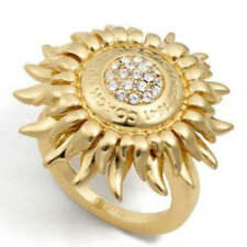 Coach NEW Tony Duquette Sunburst Gold Pave Crystal Cocktail Ring Size 6 NWT!