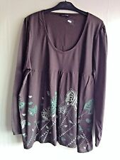 V97 WOMENS LONG BROWN PRINT EMBELLISHED TUNIC VEST TOP LADIES UK PLUS SIZE 22/24