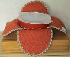 1.5 Qt Pyrex Terra Cotta Rose 474B Round Casserole Dish w/Lid & Snap Cloth Wrap