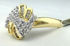 Genuine 1 Ct Diamonds Swirl Design 14k Yellow Gold Ring