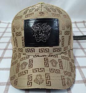 Men Women Versace Baseball Golf Hat Adjustable Cap Brown NWT
