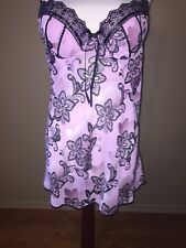APT 9 Baby Doll NIGHT GOWN + THONG PANTIES 2 PC SEXY Purple Black Large  LINGERE