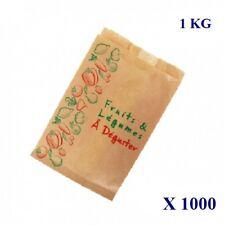 1000 sacs papier kraft brun imprimés Fruits Légumes 1KG marché maraîcher primeur