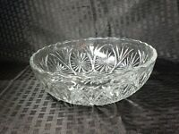 Vintage Bowl Pressed Glass Starburst Pattern Scalloped Edge 8 Inch Serving Clear