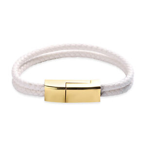 """White Faux Leather Goldtone Bracelet Jewelry with USB Android Charger Size 8"""""""