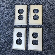 Set 4 Satin Nickel One Gang Single Duplex Wall Plate Electric Outlet Plug Cover