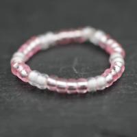 Kinderring mit Perlen _ Rosa-Weiß elastisch Finger