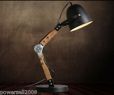 Modern Style Black Diameter 20CM Iron+Wood Creative Bedroom Bedside Table Lamp