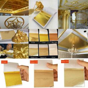 50-100 Blatt Folie Papier Nachahmung Gold Silber Kupfer Gleiten Basteln Kunst .