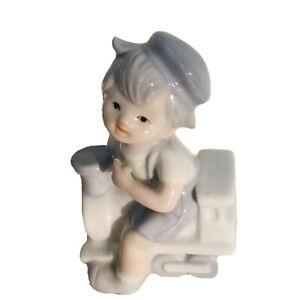 Boy Riding A Toy Train ~ Signed ~ Vintage Porcelain Ornament ~ EUC