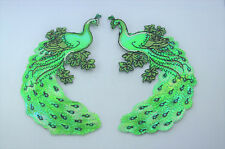 2x PEACOCK BIRD GREEN SHINY 13cm  Embroidered Sew Iron On Cloth Patch Applique