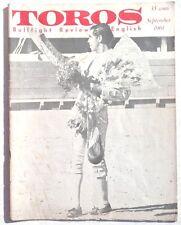 Vintage September 1961 Toros (Matador) Bullfighting Review In English Magazine