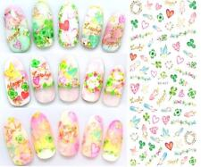 Valentines Nail Art Water Decals Stickers Hearts Love Birds Feathers Clovers 027