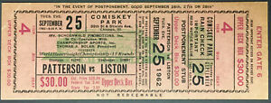 1962 Heavyweight Championship Boxing Ticket Sonny Liston vs Floyd Patterson