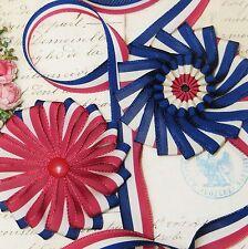 25y RED WHITE BLUE FLAG RIBBON TRIM USA FRENCH COCARDE 4TH JULY HAT VTG JACQUARD
