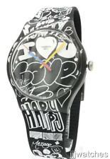 New Swiss Swatch Originals LOVE WALL Prints Silicone Watch 42mm SUOB125 $75