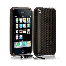 Housse coque etui gel damier transparent pour Apple Iphone 3G/3Gs couleur noir +