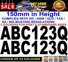 BOAT Rego Stickers 150mm High Registration Letters Numbers set Marine Quality!