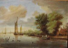 Aquarelle et Gouache 1897 Originale Hollande Pays-Bas Marine