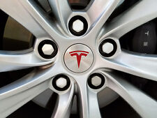 "Tesla Model S / Model X / Model 3 Wheel Emblem ""T"" Decal 4 Pieces (Matte Red)"