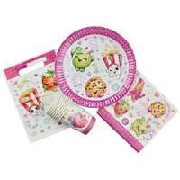 SHOPKINS  PARTY PACK 40PCE BIRTHDAY PARTY SUPPLIES PLATES CUPS NAPKINS LOOT BAGS