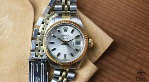 1977 Rolex Oyster DATE Automatic Silver Dial Two Tone St. Steel Watch 6916