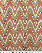 Drapery Upholstery Fabric Cotton Flame Stitch Design 100K DRubs - Coral / Gray