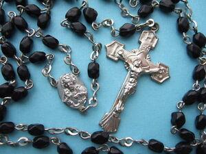 Vintage Catholic ROSARY Czech Black Glass 3x5mm beads IHS Crucifix
